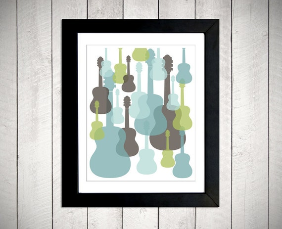 Modern Guitars Wall Art - Blue/Green/Grey - 8x10 DIGITAL DOWNLOAD
