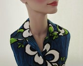 vintage blue hawaiian tiki top