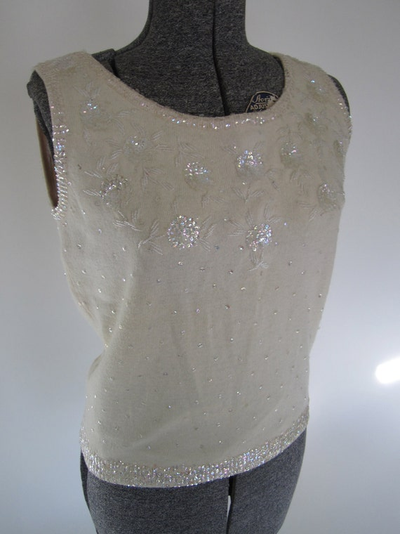 vintage 1950's GLAM winter white sequined sweater shell -- medium