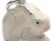 Sterling Silver White Bunny with Pink Nose Charm Pendant