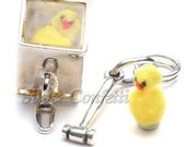 Sterling Silver Emergency Box with Yellow Chick Charm Pendant