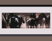 Horses, Paper PRINT, Herd of Horses, Wild Horses, Dark Brown, Animals, Love Horses, Fine Art, Home Decor, Gift for Dad