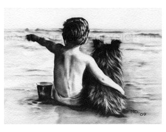 PAPER PRINT, Best Friends, Charcoal, Drawing, Black and White, Boy, Dog, Vacation, Beach, Summer, Friends Forever, Custom Drawing Available