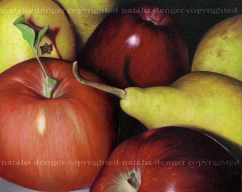 "PAPER PRINT, Pears and Apples, Delicious, Fruits, Dinning Room Decor, Colored Pencil Drawing, Apples, Pears, Red, Yellow, 11x14"" Print"