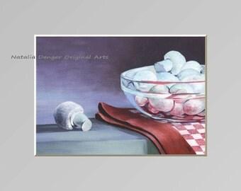 Framed Original Painting, Mushrooms, Vintage Frame, Kitchen Art, Red, White, Gray, Purple, White Mushrooms, Food