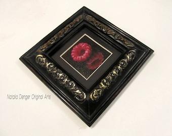 FRAMED Original Painting, Black Mirror, Raspberry, Black, Red, Black Frame, Food Art, Fruit, Kitchen Art, Red Fruit