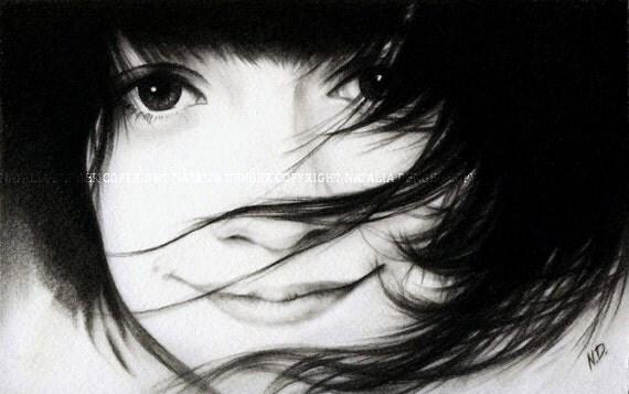 CUSTOM PORTRAIT, Original Drawing, Child Portrait, Family Gift, Black and White Portrait, Christmas Gift, Birthday Gift
