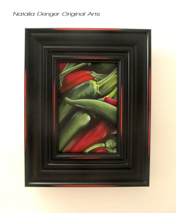 Green Peppers, FRAMED ORIGINAL Painting, Hot Peppers, Vegetables, Realistic, Red, Green, Kitchen Art, Restaurant, Spicy Food
