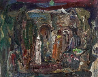 Ancient Asian Motif 1991, 16 cm x 19 cm, oil on paper painting by Russian artist