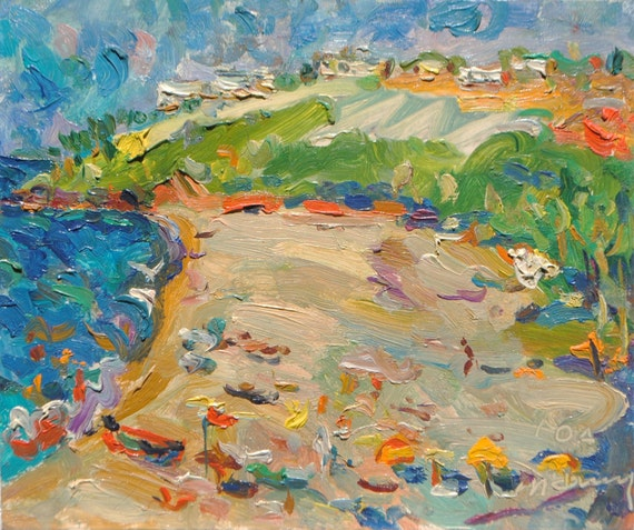 Beach in Goa, India, original oil painting by russian artist