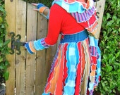 Fairytea - Elf Pixie gypsy sweater - Red aqua Orange Stripe Coat - Unique twirl Upcycled Hippie - READY TO SHIP