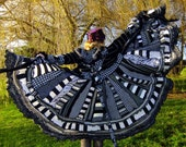 RESERVED for Karen - Upcycled sweaters - XXXL Elven pixie - Monochrome Black white coat by Fairytea
