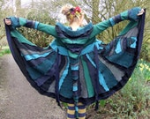 Dark Green fairy Coat medium/large - Upcycled Sweaters - One of a Kind - RESERVED for LISA