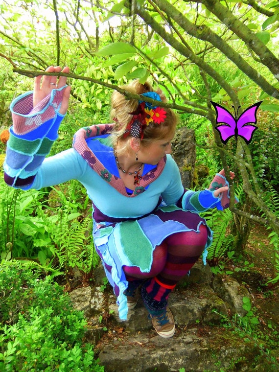 RESERVED for Emu Faery - Fairytea - Sweater flower dress - aqua plum mint green pink - pixie fairy elf festival hippie
