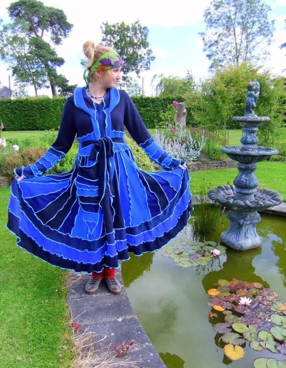 Fairytea - Blue Navy Aqua - Upcycled sweater elf coat - unique - Fairy pixie Magical dream - READY TO SHIP