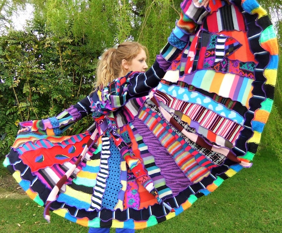 Crazy patchwork Elf Coat - Psychedelic Rainbow -READY to SHIP