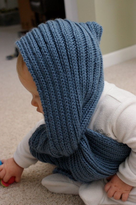 Toddler Hooded Scarf knit Pocket for Mittens