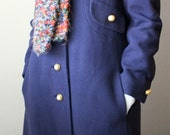 SALE - Navy Blue Wool Winter Coat Mid-Century Jackie O Style with Gold Buttons Small Medium