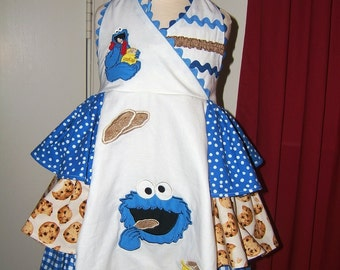 Ready to Ship Cookie Monster Ruffled Halter Dress Size 3/4 & Hairbow