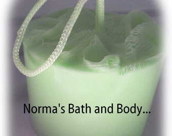 Cucumber melon glycerin soap on a rope, soap, glycerin soap, handmade soap, normas bath