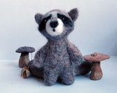 Needle felted raccoon