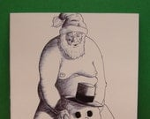 Set of 4 adult Christmas cards (mature audience only), Naked Santa's XXX mischief