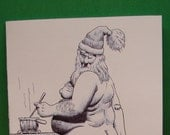 Mature Christmas greeting card, gay interest, naked santa, candy cane cock