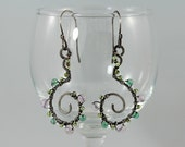 Sterling silver earrings, natural gemstones.