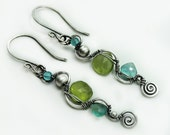 Lime green and teal earrings 925 sterling silver and natural gemstones