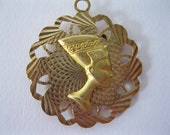 On Hold for Laura S. Unique Vintage '70's Gold Metal Pendant or Charm - Egyptian Queen