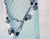 Black and white stripe necklace and earring set