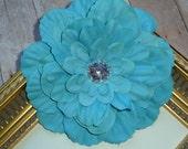 Flower Clip...Flower Hair Clip...Turquoise Silk Rhinestone Zinnia Flower