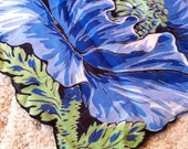 v i n t a g e Blue Flower Shaped Handkerchief Scarf table cloth