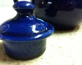 v i n t a g e Cobalt Blue High Gloss Porcelain Tea Pot with Lid