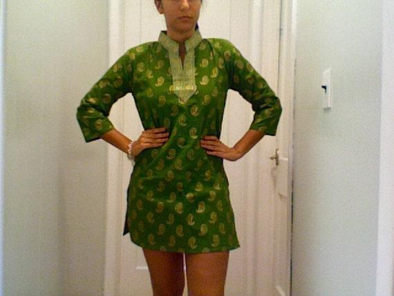 v i n t a g e Regal Green and Gold Silk Indian Tunic Dress Size Small