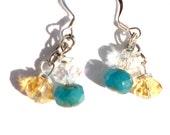 Dangle Earrings - South Pacific Czech Glass Beads - Summertime, Dangle Earrings