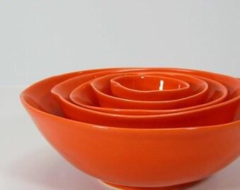 5pc Nesting Bowls in Tangerine
