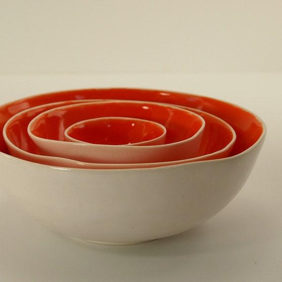 Tangerine and White Nesting Bowls