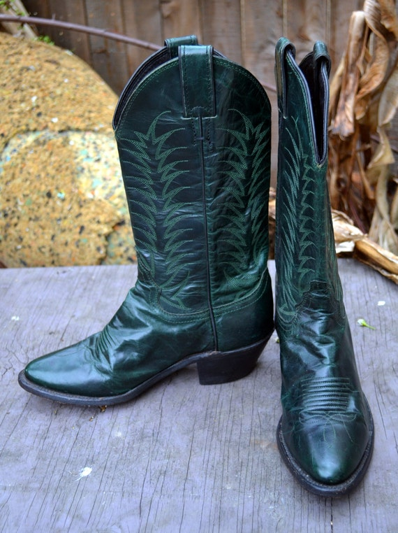 Emerald Green Justin Cowboy Boots size 6.5 SALE