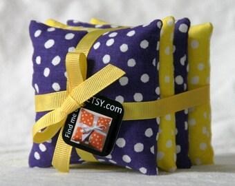 Set of 4 MN Vikings Purple and Gold Polk-a-Dot Beanbags