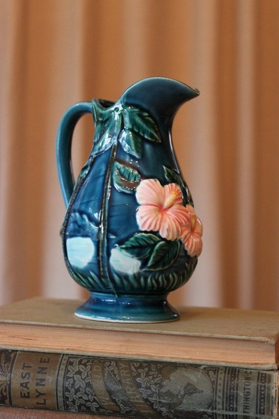 Vintage Pitcher Hand Painted Hawaiian Souvenir