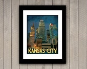 Kansas City Travel Print Downtown Vintage Deco Style Poster in Deep Blues, Greens, and Gold Textures