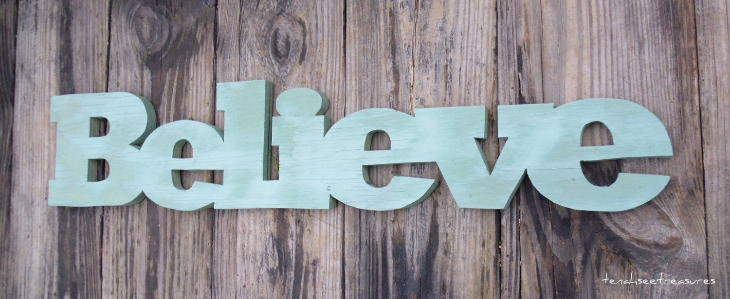 Wooden Sign Reclaimed Wood Believe Wall Decor