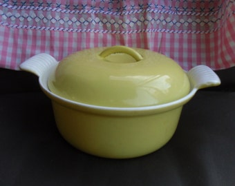 Rare Early Descoware Sunny Yellow Cast Iron and Enamel Casserole with Lid