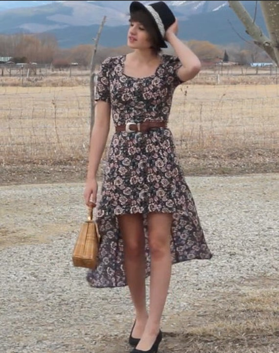 Redesigned Vintage Floral Waterfall Hem Maxi Dress with Criss-Cross Back Detail