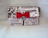 Superman black and grey  comic wallet with red interior and red bow