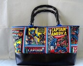 Color Comic Captain American Vintage Bamboo Handbag with Black VInyl and Blue Interior