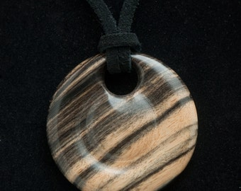 Handcrafted exotic black and white ebony pendant