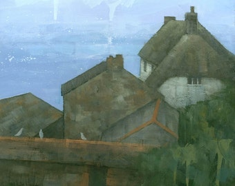 Cadgwith, Cornwall, Cornish Seaside Landscape Painting, Signed Giclee Print