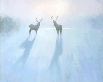 Call of the Arctic, Reindeer Painting, Signed Giclee Print 11x11 inches
